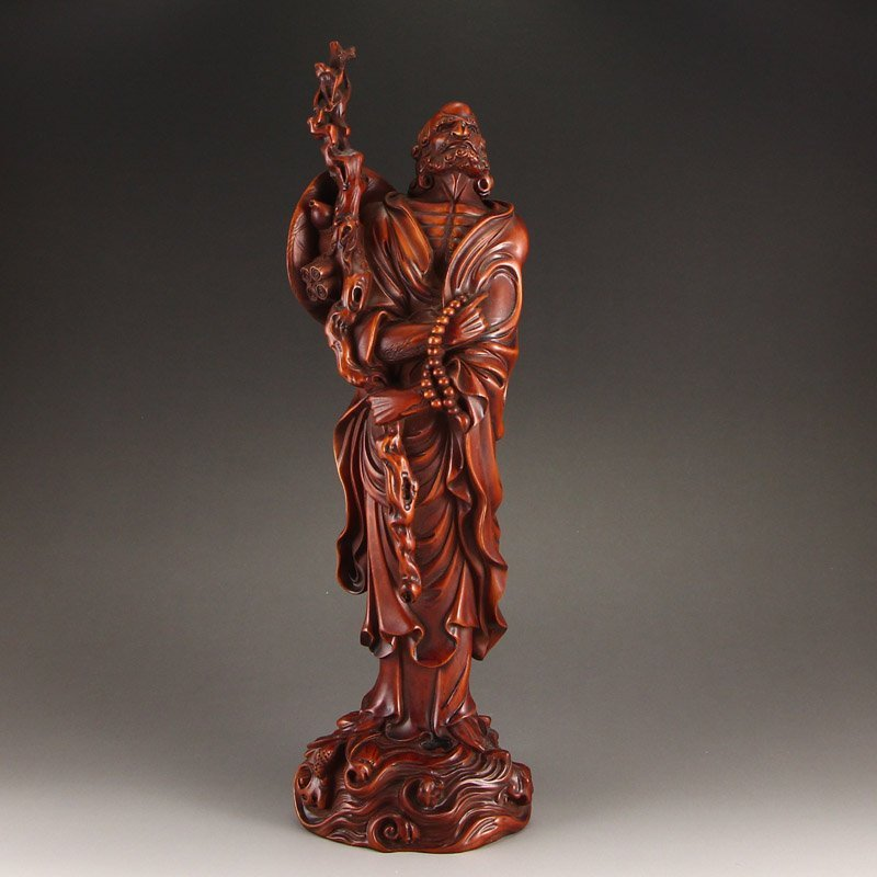 Vintage Chinese Boxwood Wood Dharma Statue