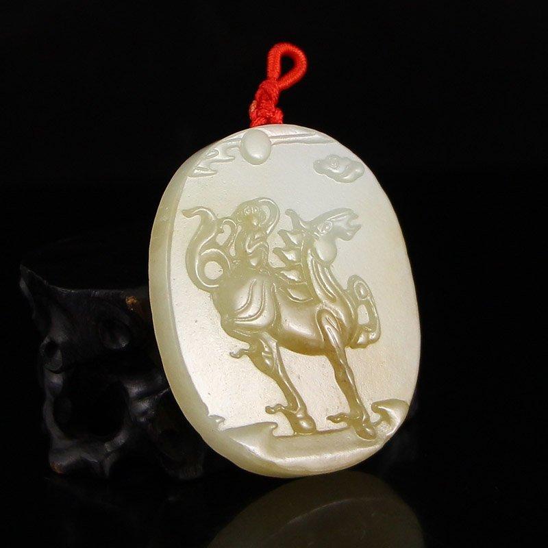 Chinese Natural Hetian Jade Fortune Horse Pendant