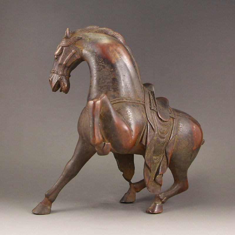 Vintage Chinese Qing Dy Red Copper Statue - Horse