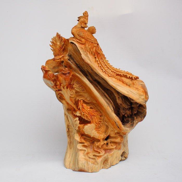 Thuja Sutchuenensis Wood Dragon & Phoenix Statue