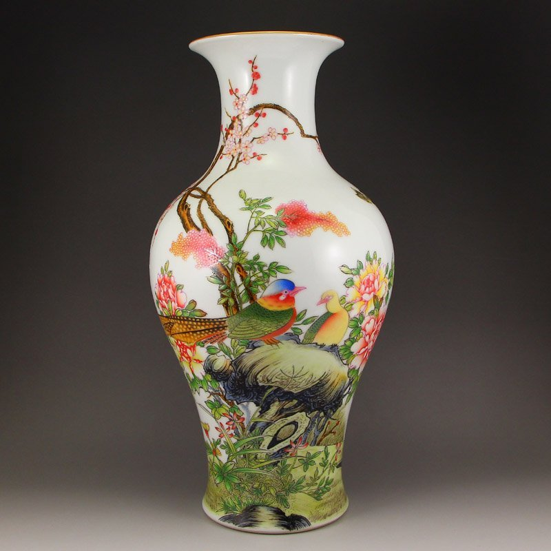 Chinese Qing Dy Gilt Edge Famille Rose Porcelain Vase