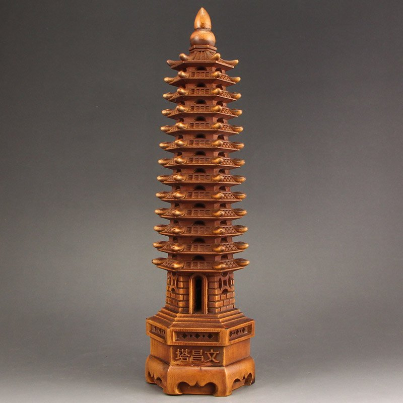 Vintage Chinese Boxwood Wood Buddhist Pagoda