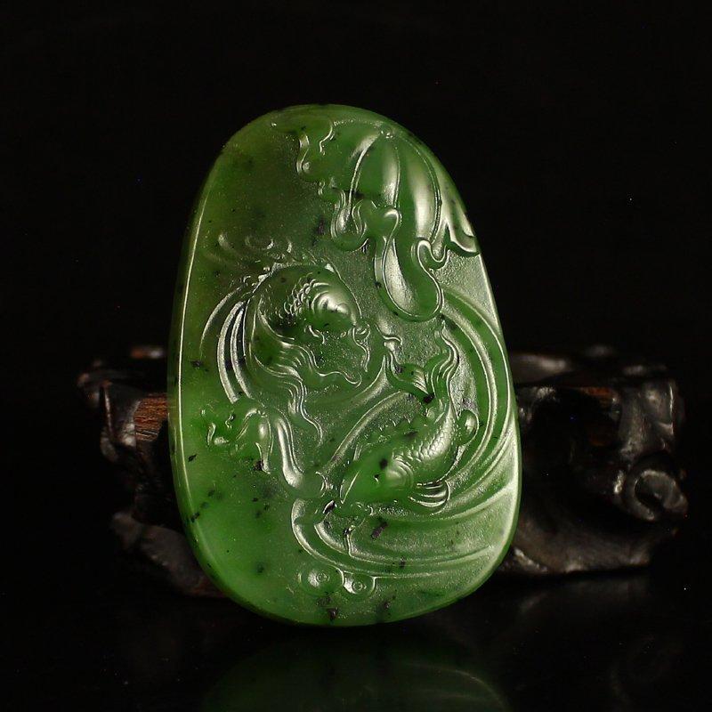 Chinese Green Hetian Jade Pendant - Carp & Lotus