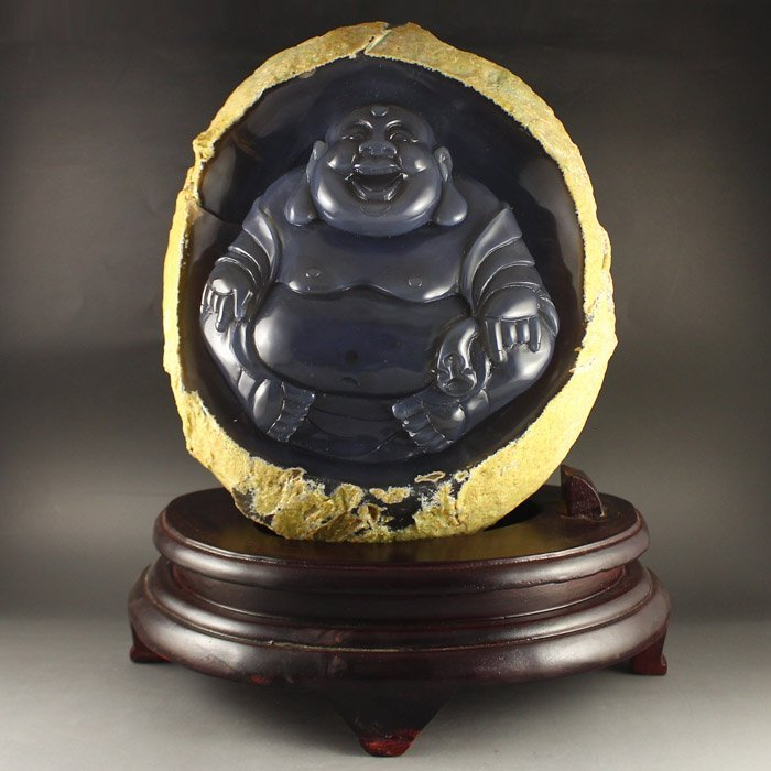 Chinese Water Bile Agate Laughing Buddha Statue