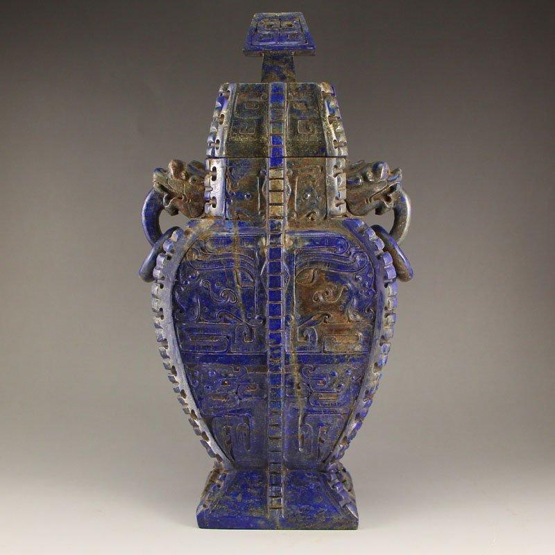 Vintage Chinese Lapis Lazuli Dragons Head Vase