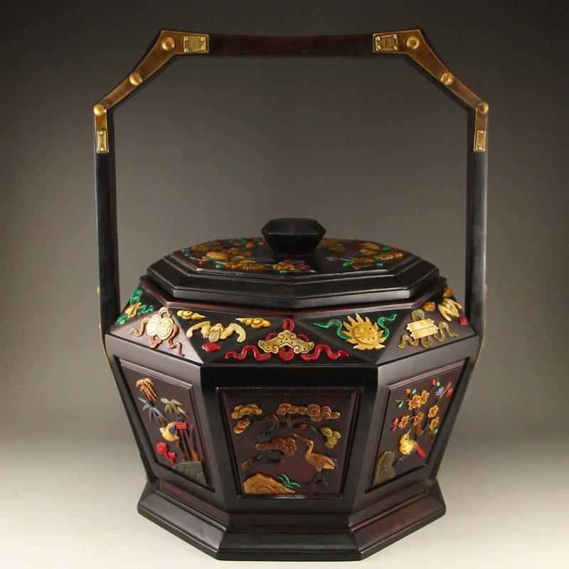 Chinese Qing Dy Zitan Wood Inlay Shells Food Box