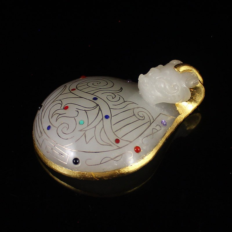 Chinese Hetian Jade Inlay Silver Wire & Gem Belt Buckle