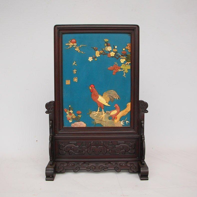 Chinese Zitan Wood Lacquerware Inlay Shells Gems Screen