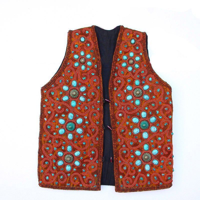 Tibetan Nationality Tradition Clothing - Turquoise Vest