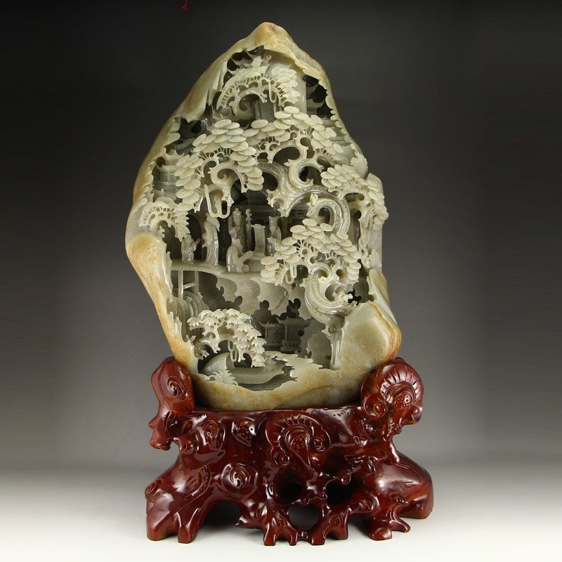 Superb Chinese Hetian Jade Statue - Sages Meeting