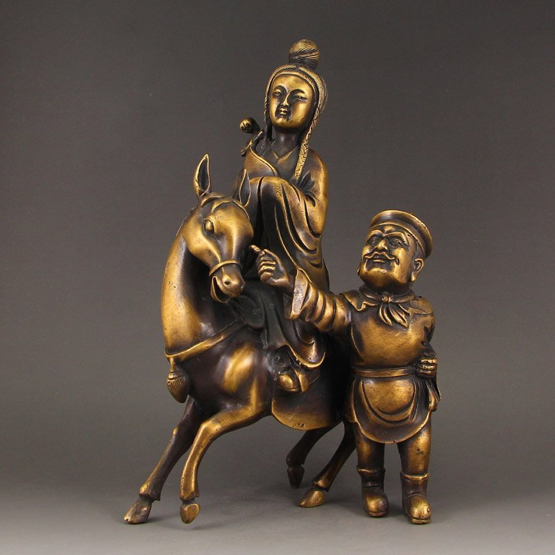 Vintage Chinese Brass Statue - Figures & Horse