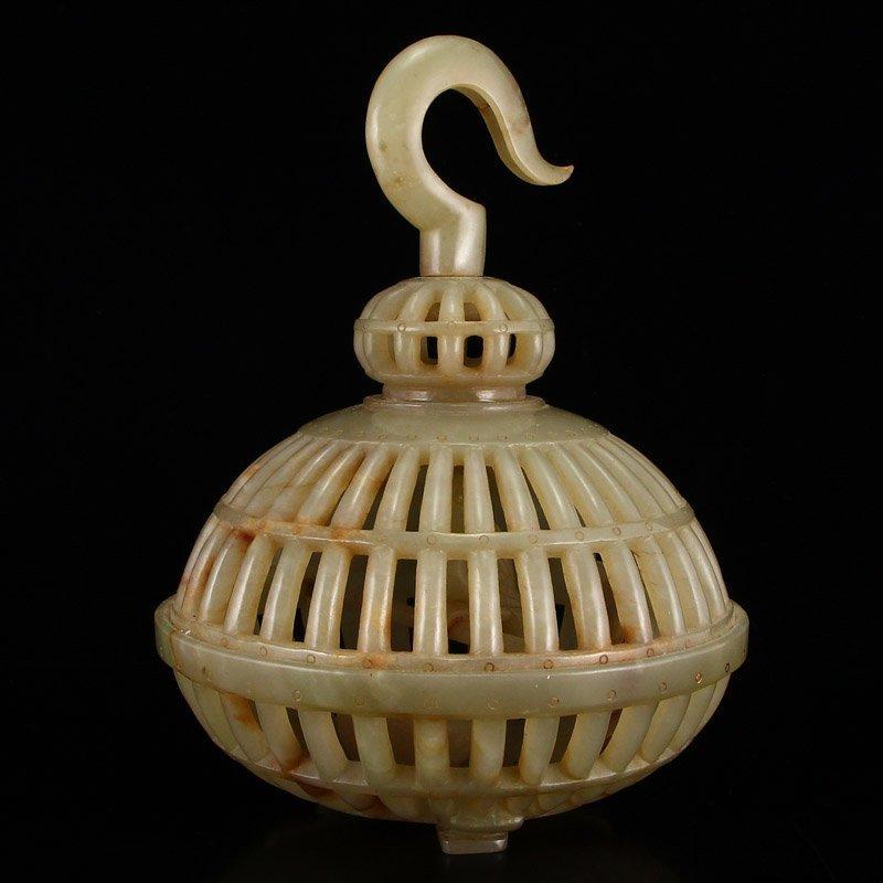 Vintage Chinese Hetian Jade Bird Cage