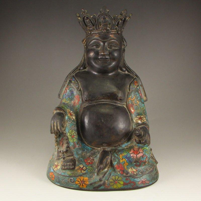 Chinese Bronze Cloisonne Buddhism Buddha Statue