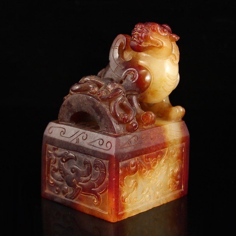 Chinese Han Dynasty Hetian Jade Lucky Beast Seal