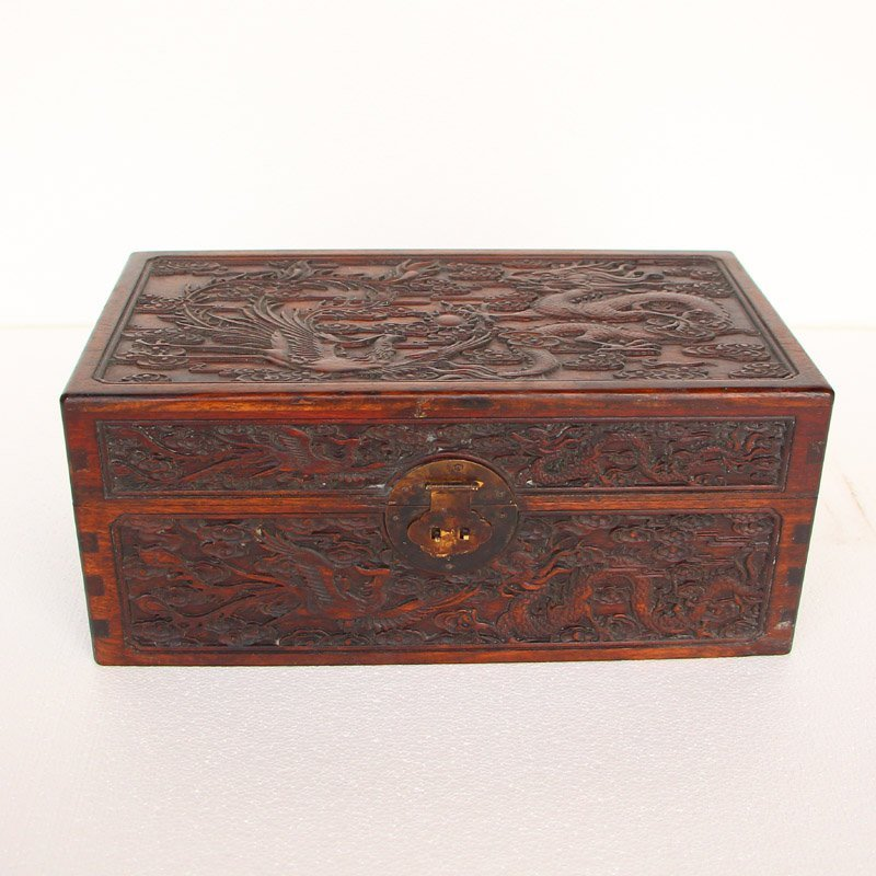 Vintage Chinese Zitan Wood Seal Box w Dragons & Balls