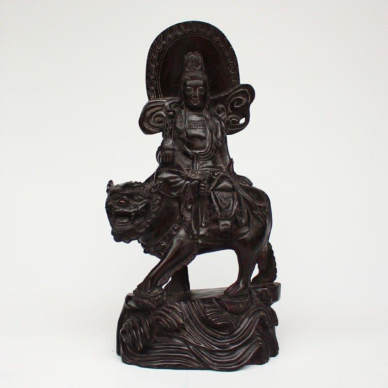 Vintage Chinese Rosewood Wood Statue - Manjusri & Lion