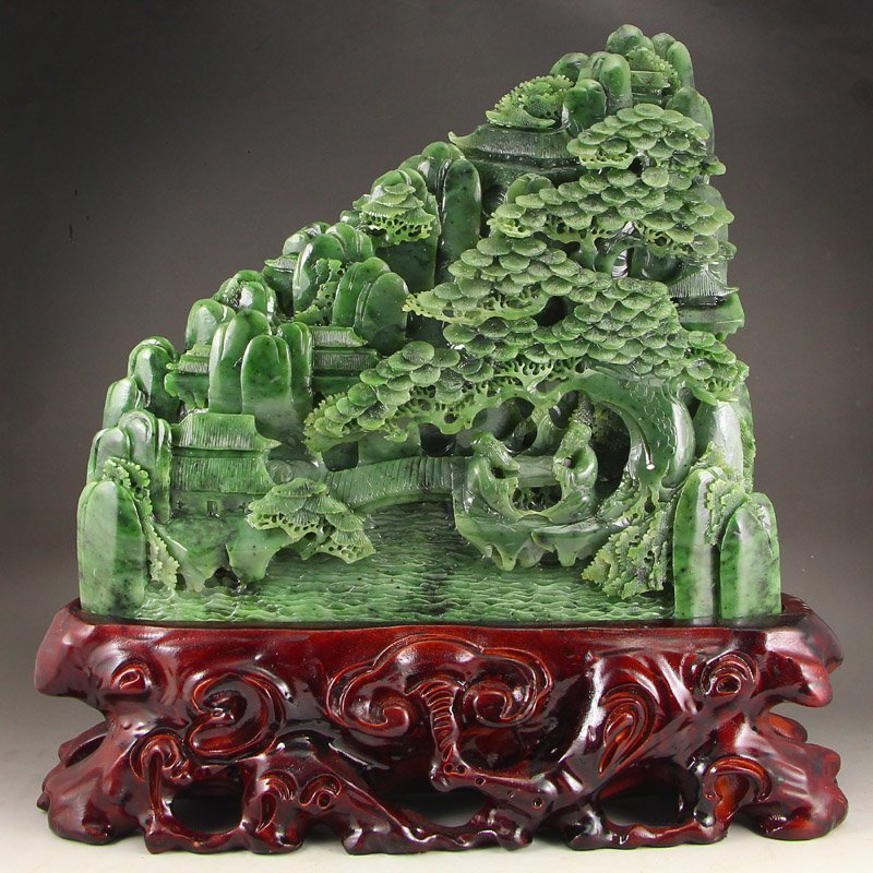 Chinese Green Hetian Jade Statue - Sages & Mountain