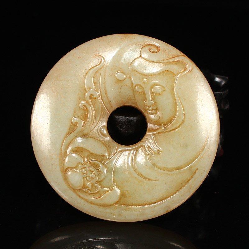 Vintage Chinese Hetian Jade Lotus & Kwan-yin Pendant