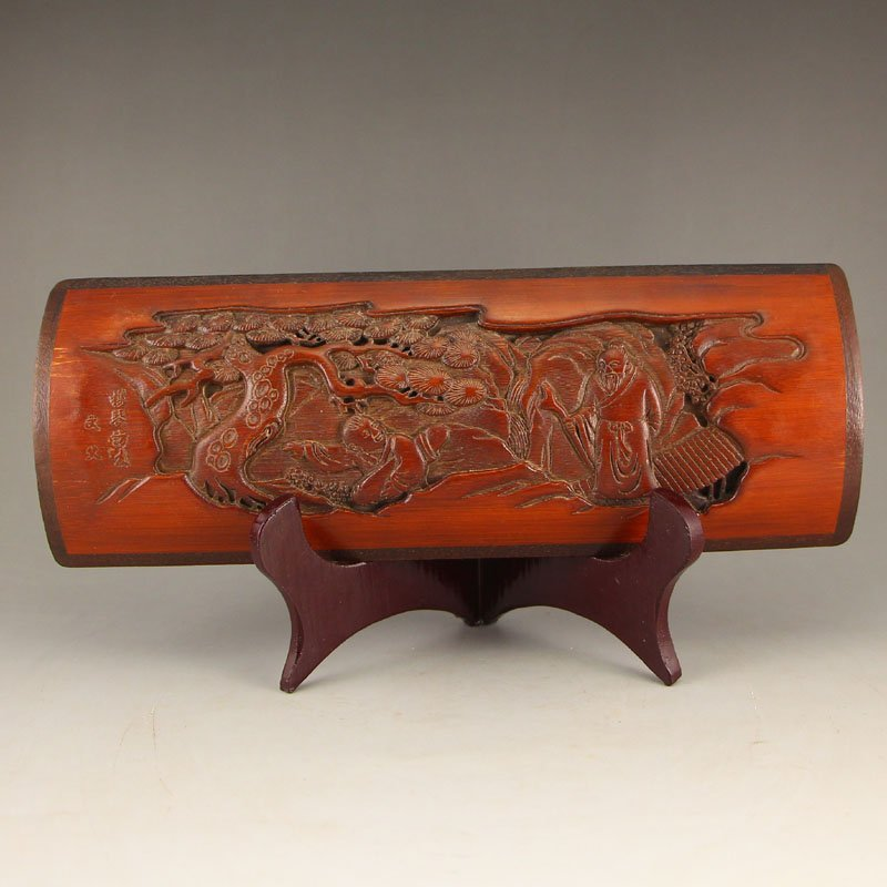 Vintage Chinese Bamboo Arm Rest w Old Man & Kid