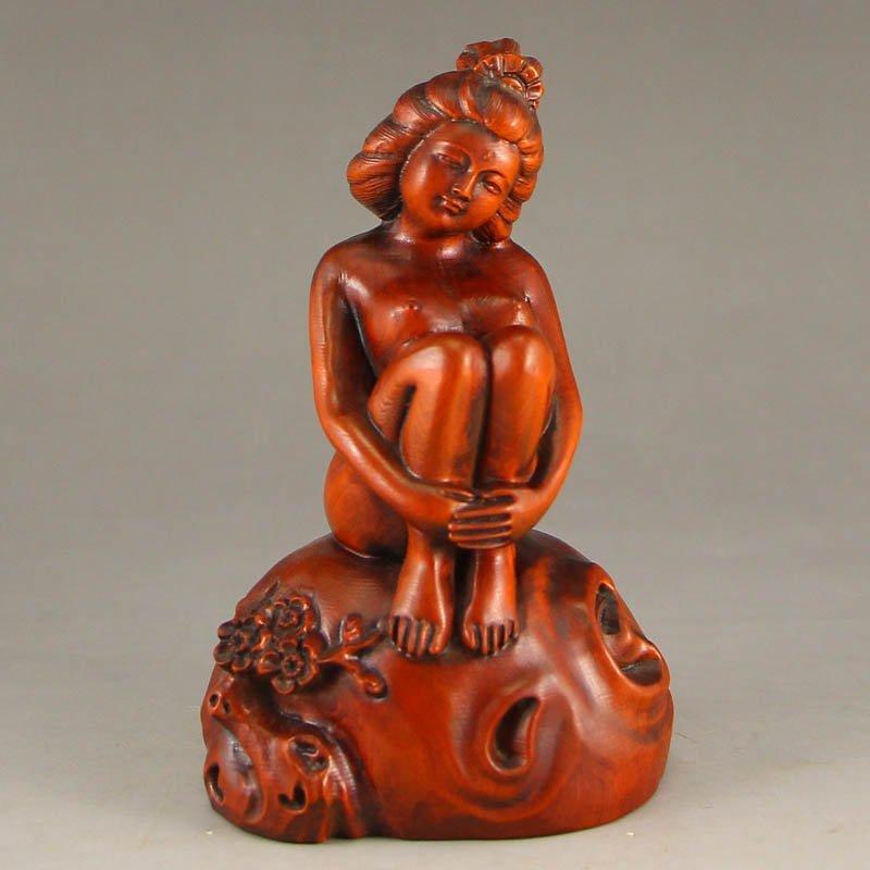Vintage Chinese Boxwood Wood Statue - Beautiful Girl