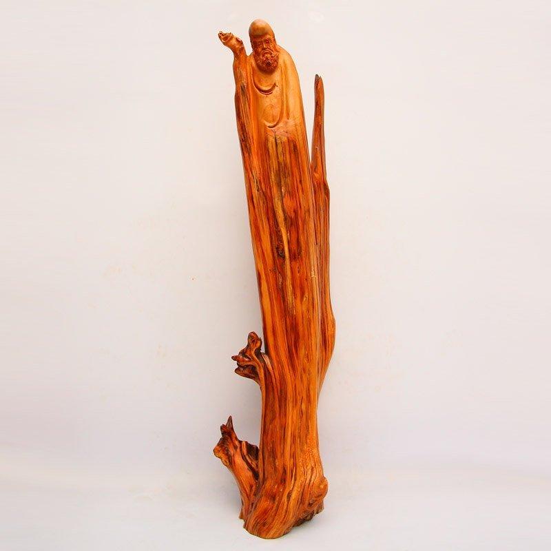Chinese Thuja Sutchuenensis Wood Dharma Statue