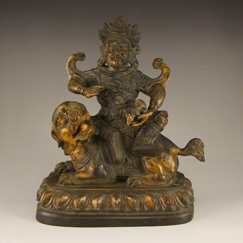 Chinese Ming Dynasty Gilt Gold Bronze Jambhala Statue