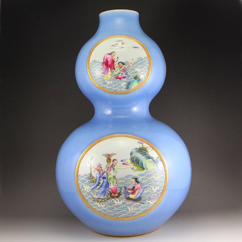 Chinese Gilt Gold Famille Rose Porcelain Gourd Vase