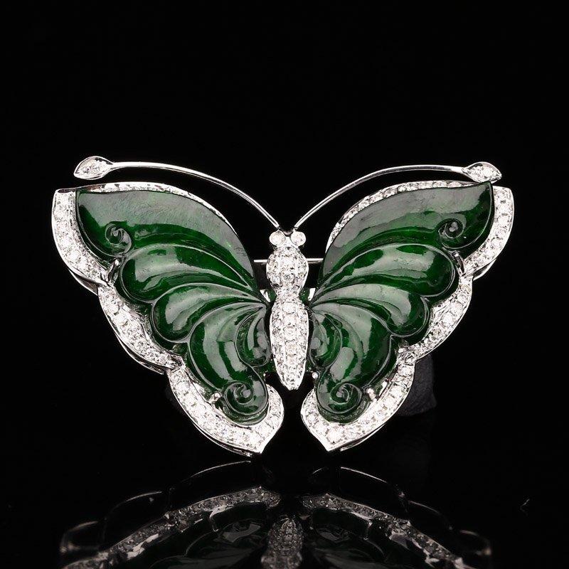 18K White Gold Inlay Jadeite Diamonds Butterfly Brooch