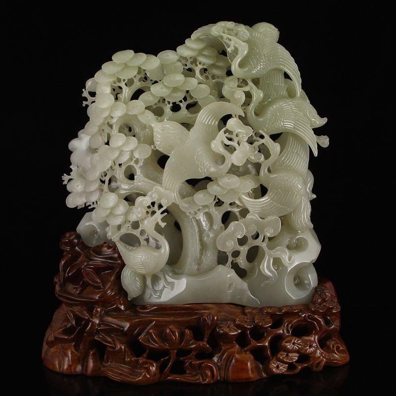 Chinese Hetian Jade Statue - Crane & Pine Tree