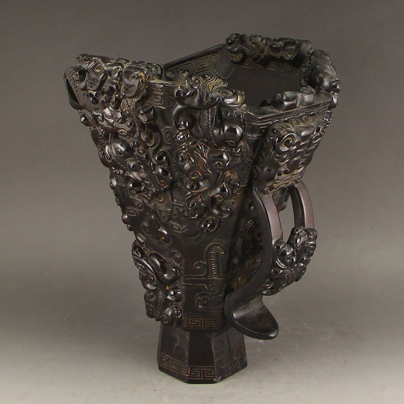 Chinese Qing Dynasty Ox Horn Chi Dragons Sacrificed Cup