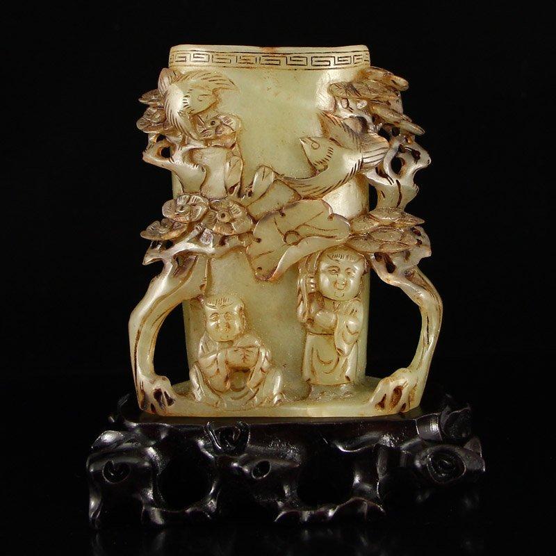 China Qing Dy Hetian Jade Brush Pot w Kids & Pine Tree