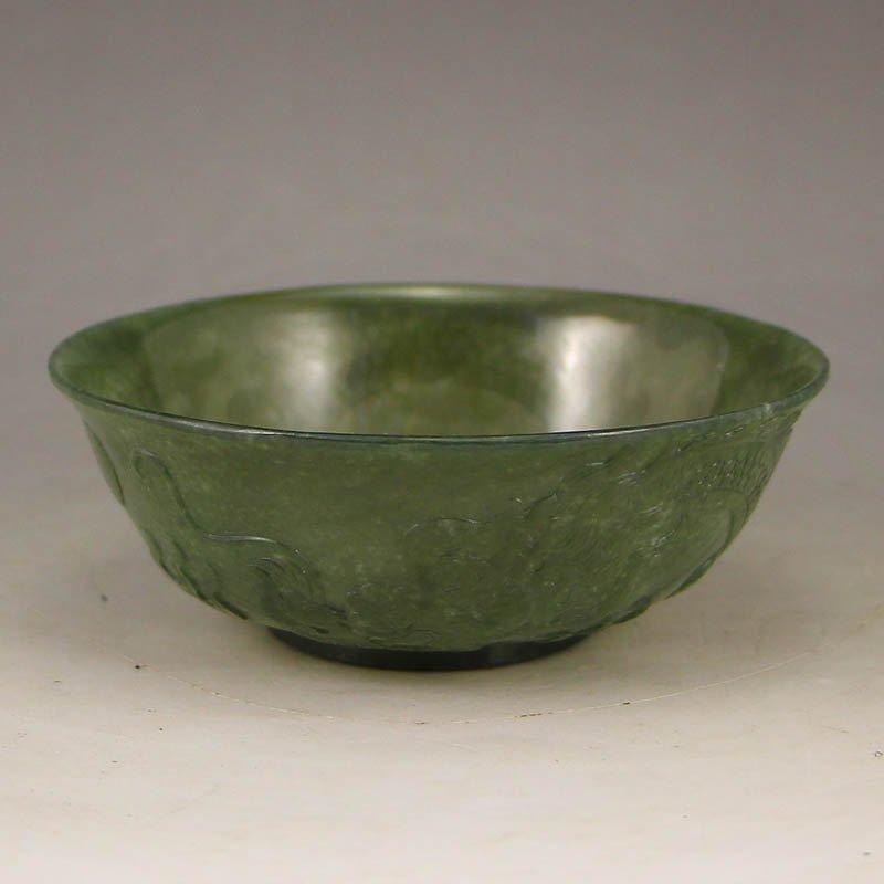 Chinese Qing Dynasty Green Hetian Jade Bowl