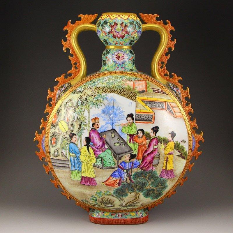 Chinese Gilt Gold Famille Rose Moon Porcelain Vase
