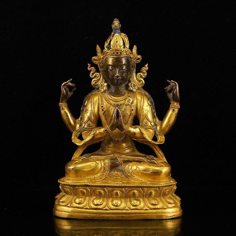 Tibetan Gilt Gold Bronze Four Arms Buddha Statue