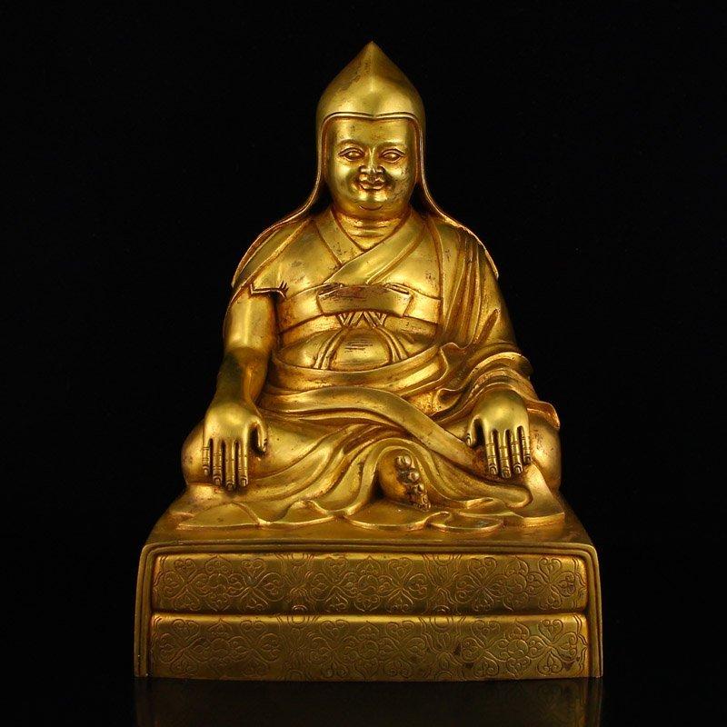 Tibet Buddhist Gilt Gold Bronze Tsongkhapa Statue