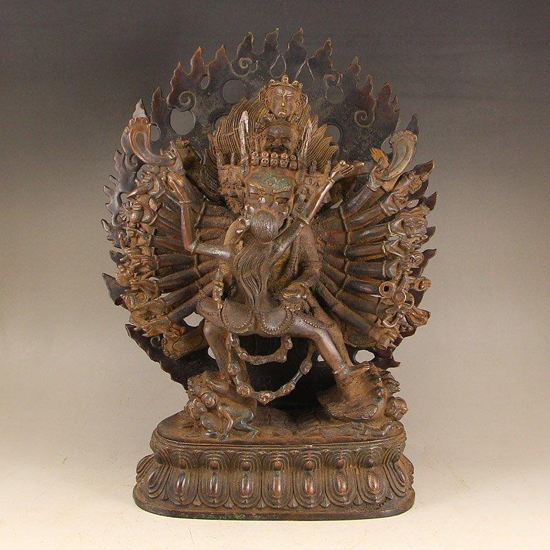 Tibetan Buddhist Red Copper Yamantaka Buddha Statue