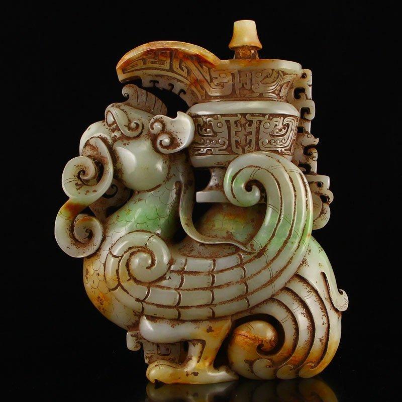 Vintage Chinese Hetian Jade Phoenix Candlestick