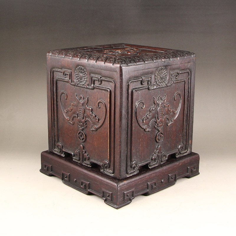 Vintage Chinese Zitan Wood Low Relief Bats Seal Box