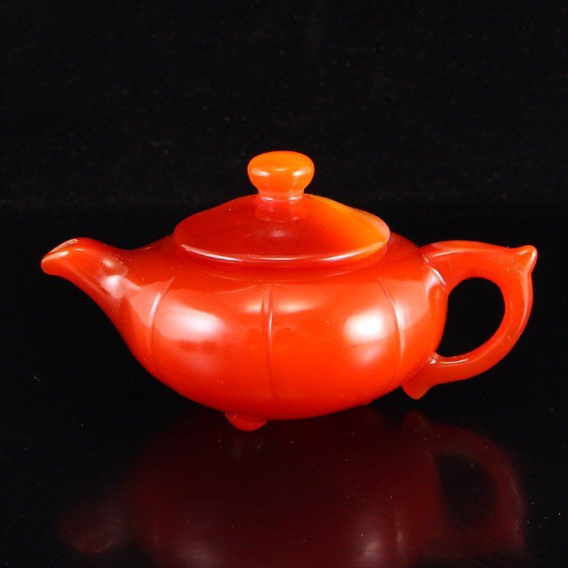 Chinese Natural Red Agate Teapot w Certificate