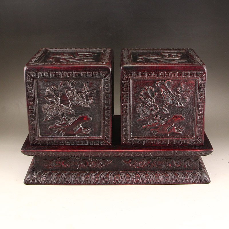 Vintage Chinese Zitan Wood Seal Boxes