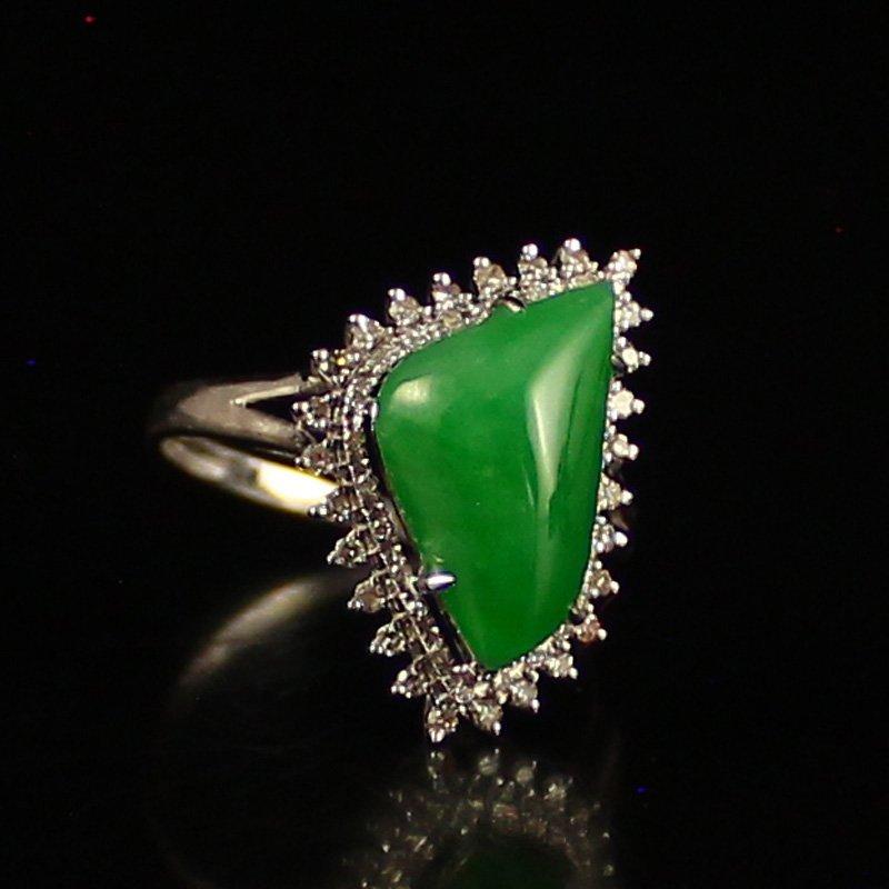 18K White Gold Inlay Natural Jadeite Diamond Ring