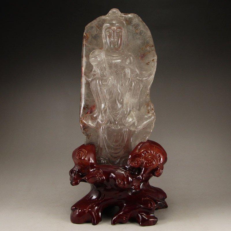 Chinese Qing Dynasty Berg Crystal Kwan-yin Statue