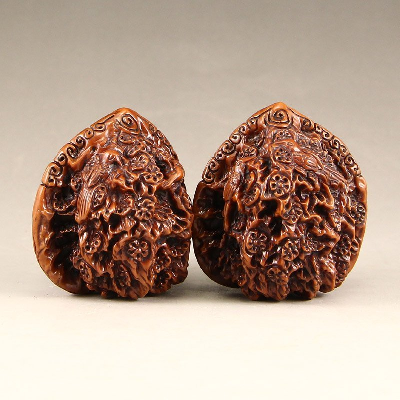 A Pair Vintage Chinese Walnut Gymnastic Ball