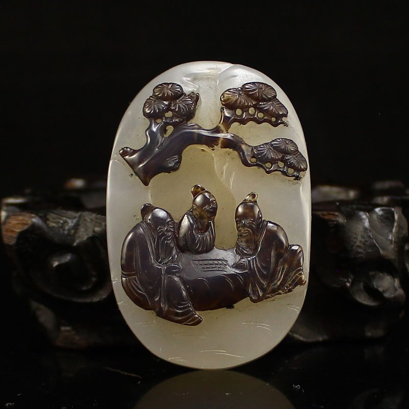 Vintage Chinese Agate Pendant - Playing Chess Old Men