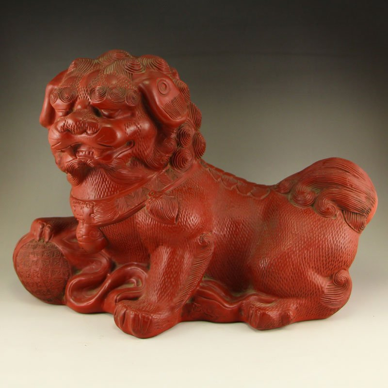 Chinese Qing Dynasty Red Lacquerware Lucky Lion Statue