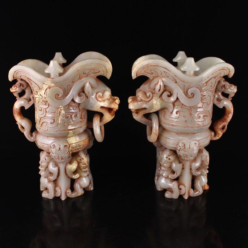 A Pair Chinese Hetian Jade Dragon Head Big Wine Cups