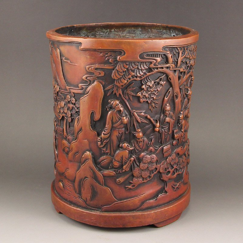 Chinese Qing Dy Red Copper Brush Pot w Sages Meeting