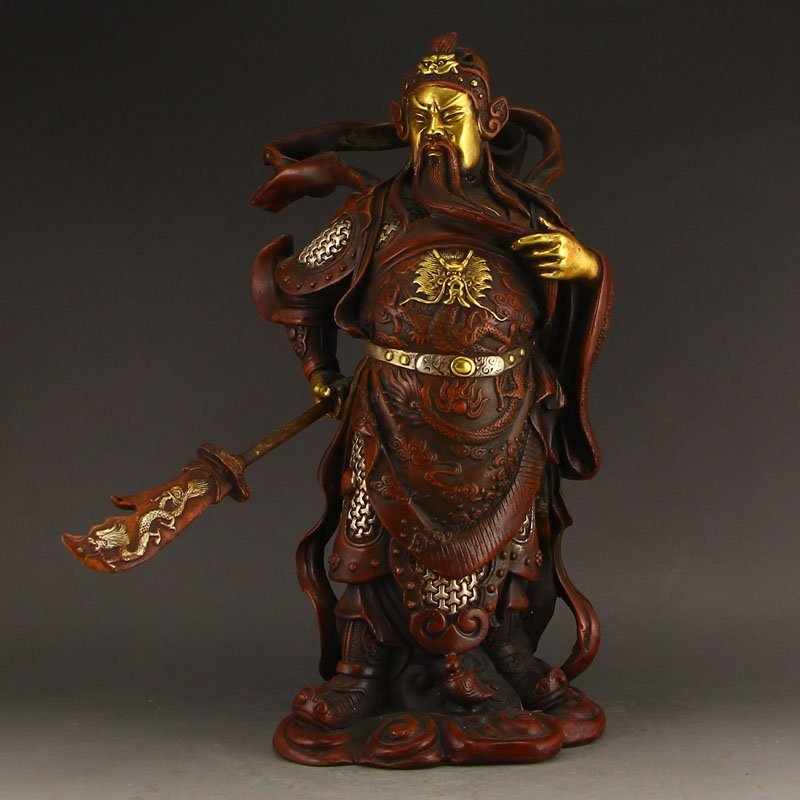 Chinese Gilt Gold Red Copper Guangong Statue
