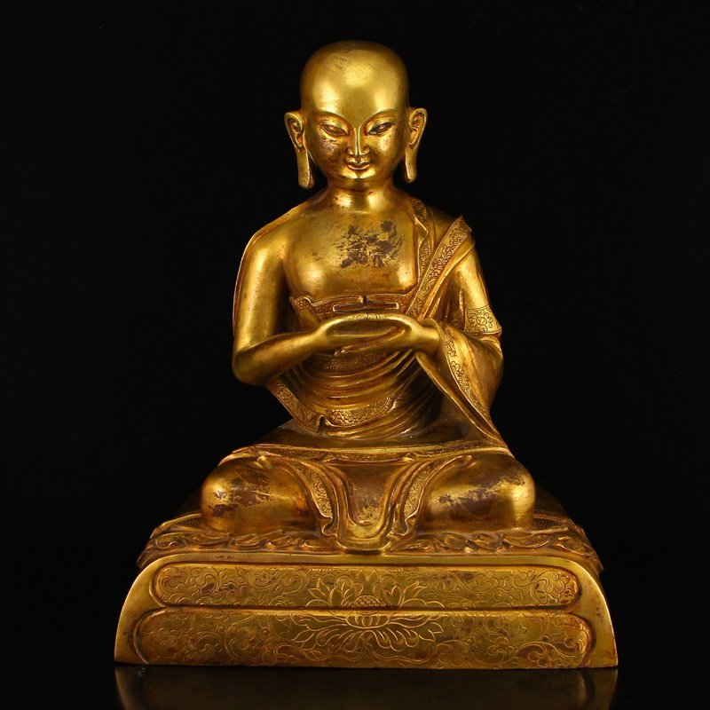 Chinese Ming Dynasty Gilt Gold Bronze Buddha Statue