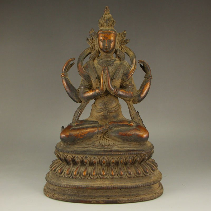 Tibet Buddhism Red Copper Four Arms Kwan-yin Statue